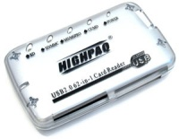 HighPaq R/W 62 in 1 CF1/2, SMC, XD, SDC, MD, MS, MSPRO,MSDUO, Mini SD, External Silver Compact USB2.0 retail